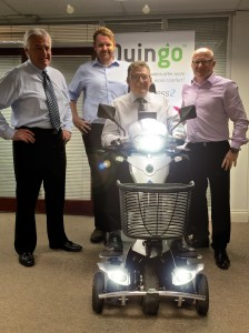 Brett and Ron Norish with AVC's Graham and Mark Nicholls with the latest Quingo Toura 2